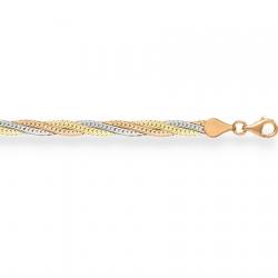 Золотой браслет Монтреаль косичка из 3-х цепочек (белая+красная+желтая) с алмазной гранью