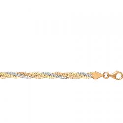 Цепочка из комбинированного золота Монтреаль косичка из 3-х цепочек трехцветная (бел.+красн.+жел.) с алмазной гранью