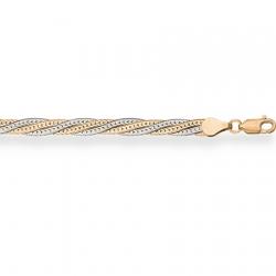 Золотой браслет Монтреаль косичка из 4-х цепочек (белая+красная) с алмазной гранью