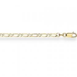 Цепочка из желтого золота Фигаро 1+1 с алмазной гранью