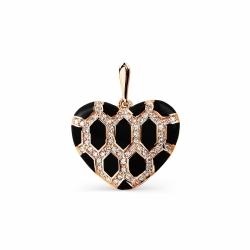 Золотая подвеска Сердце с эмалью, фианитами