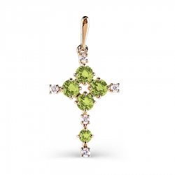 Золотой крестик с хризолитом и фианитами