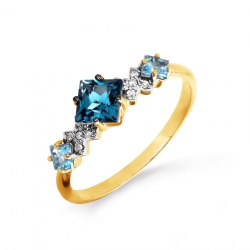 Кольцо из желтого золота с топазами, бриллиантами