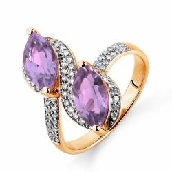 Золотое кольцо с аметистами, бриллиантами