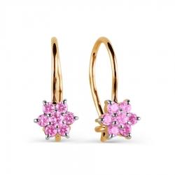 Золотые серьги Цветы с фианитами