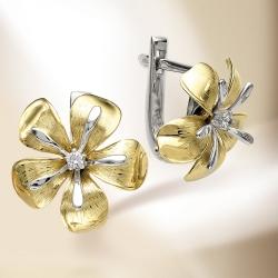 Серьги Цветы из белого золота с бриллиантами
