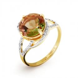 Кольцо из желтого золота с султанитом ситалл, фианитами