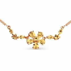 Золотое колье Цветок с цитринами