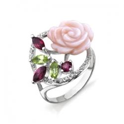 Кольцо Роза из белого золота