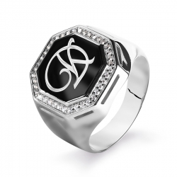 Мужское кольцо из белого золота с эмалью и фианитами