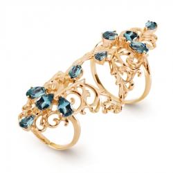 Золотое кольцо Ажур с топазами