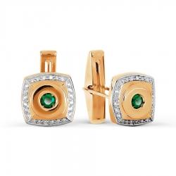 Золотые запонки с бриллиантами и ониксами