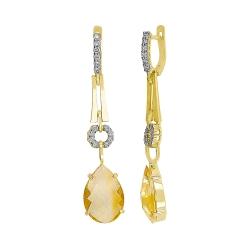 Серьги из жёлтого золота 585 пробы с бриллиантами и цитринами