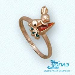 Детское золотое кольцо Зайчик с эмалью