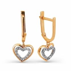 Золотые серьги в форме сердца с бриллиантами