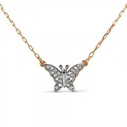 Золотое колье Бабочка с бриллиантами