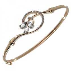 Золотой браслет с вставкой металлической, фианитами