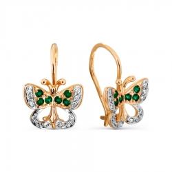 Детские золотые серьги Бабочки с изумрудом, бриллиантами