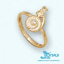 Детское золотое кольцо Улитка с фианитом