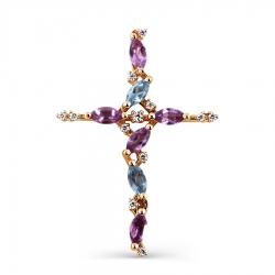 Золотой крестик с аметистами, топазами, фианитами