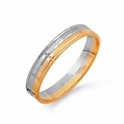 Кольцо обручальное из комбинированного золота с фианитами