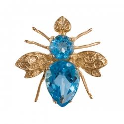 Брошь-подвеска Пчелка из золота с топазами