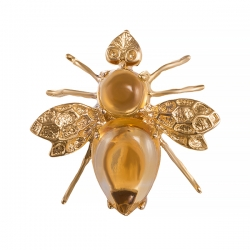 Брошь-подвеска Пчелка из золота с цитринами