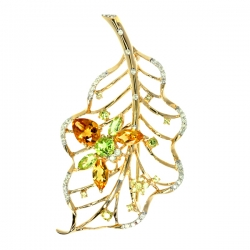 Брошь Листок из золота с цветными полудрагоценными камнями и бриллиантами
