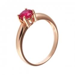 Кольцо из розового золота 585 пробы с рубином облагороженным