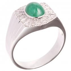 Кольцо из белого золота 585 пробы с бриллиантами и изумрудом