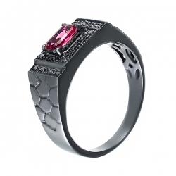 Кольцо из черного золота 585 пробы с турмалином и бриллиантами