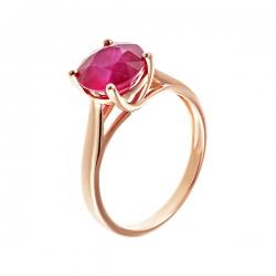 Кольцо из золота 585 пробы с рубином облагороженным