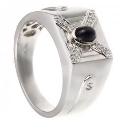 Кольцо из белого золота 585 пробы с бриллиантами и сапфиром