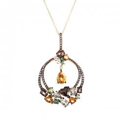 Подвеска из золота 585 пробы с бриллиантами и цветными полудрагоценными камнями