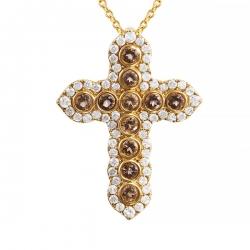 Колье из золота 585 пробы с бриллиантами и раухтопазами