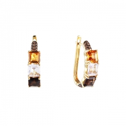 Серьги из золота 585 пробы с цветными полудрагоценными камнями и бриллиантами