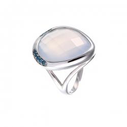 Кольцо из белого золота 585 пробы с халцедоном и бриллиантами