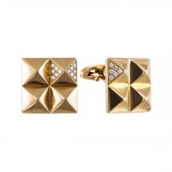 Запонки из золота 585 пробы с бриллиантами