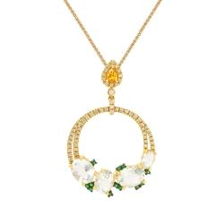 Подвеска из золота 585 пробы с цветными полудрагоценными камнями и бриллиантами