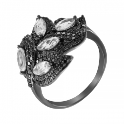 Кольцо из черного золота 585 пробы с топазами и бриллиантами