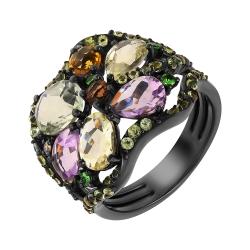 Кольцо из черного золота 585 пробы с цветными полудрагоценными камнями и бриллиантом