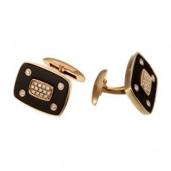 Запонки из золота 585 пробы с ониксом и бриллиантами