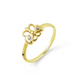 Детское кольцо Бабочка из желтого золота с фианитами