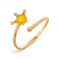Золотое кольцо Корона с эмалью