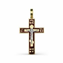 Мужской крестик из желтого золота с эмалью