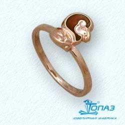 Детское золотое кольцо Лев с эмалью