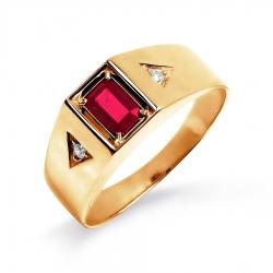 Мужское золотое кольцо с рубином и бриллиантом