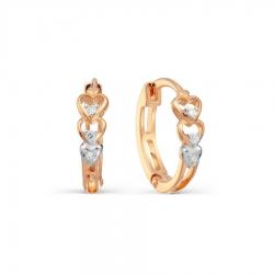 Золотые серьги с бриллиантами Сердце