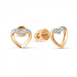 Золотые пусеты Сердце с бриллиантами