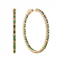 Серьги из золота 585 пробы с бриллиантами и цаворитами